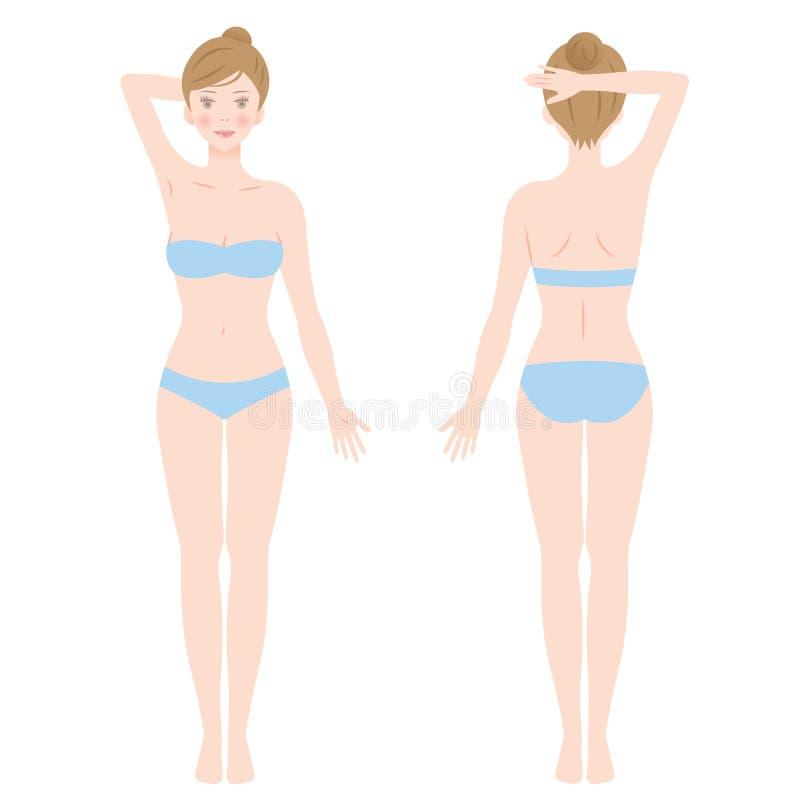 Bekläda och dra tillbaka sikten av att stå den kvinnliga kroppen som isoleras på vit bakgrund stock illustrationer