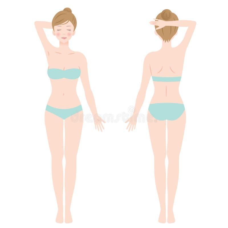 Bekläda och dra tillbaka sikten av den stående kvinnlign i underkläder royaltyfri illustrationer