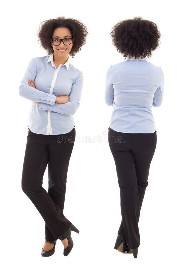 Bekläda och dra tillbaka sikten av lycklig iso för afrikansk amerikanaffärskvinnan royaltyfri bild
