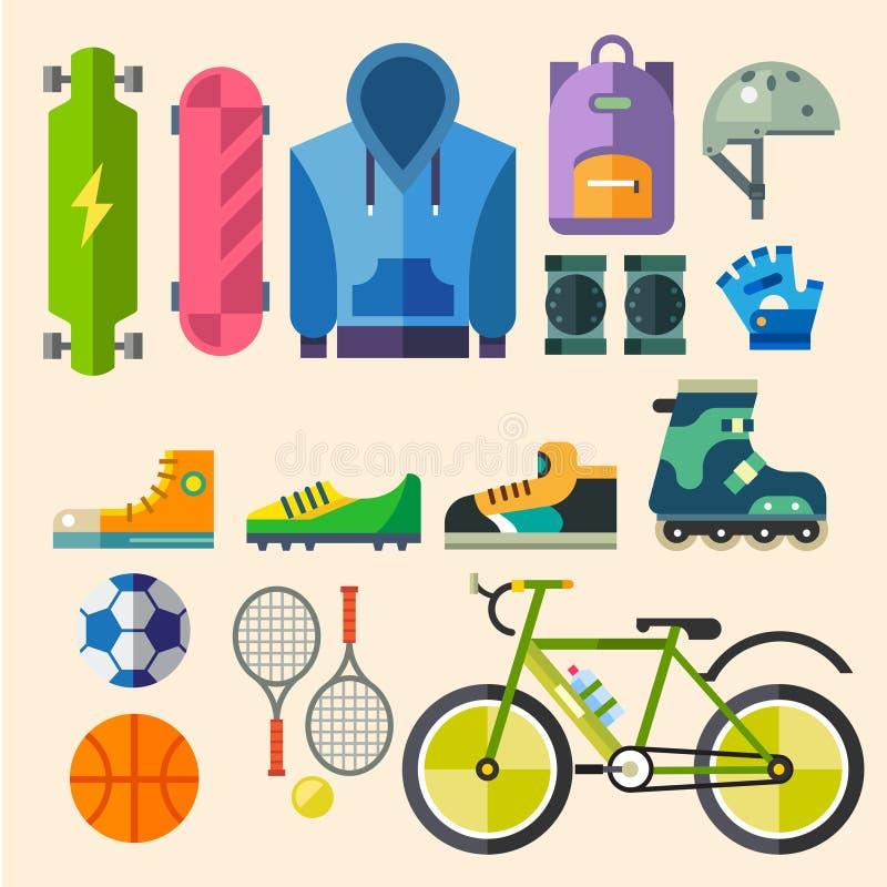 Bekläda och skor för aktiv rekreation royaltyfri illustrationer