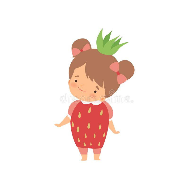 Beklär den bärande jordgubbedräkten för den älskvärda lilla flickan, det förtjusande ungetecknad filmteckenet i karneval vektoril stock illustrationer