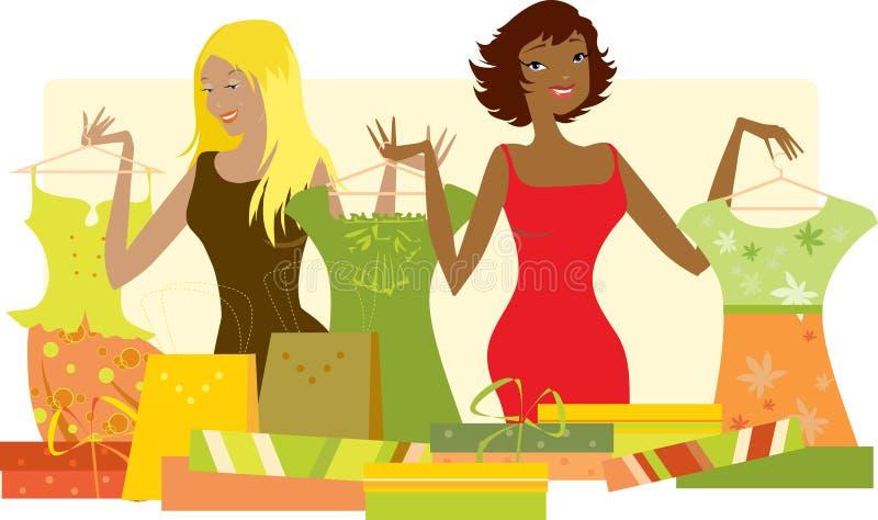 beklär nya shoppingkvinnor stock illustrationer