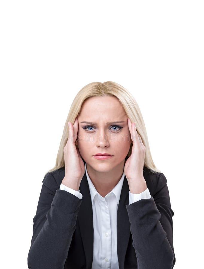 Beklemtoond jong blonde bedrijfsvrouwenportret stock afbeeldingen