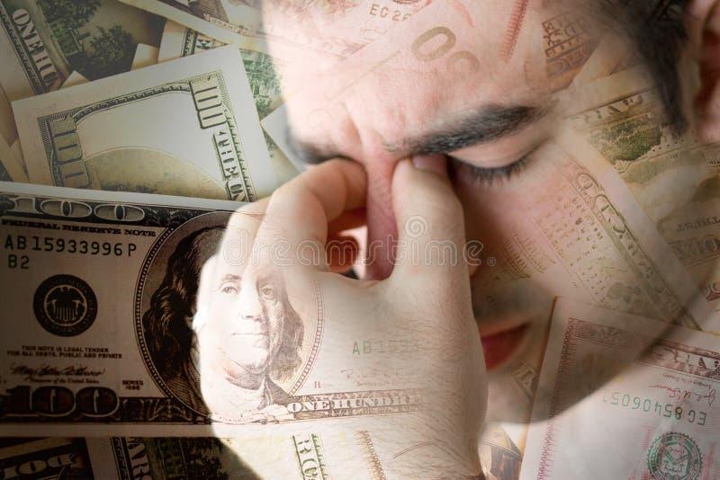 Beklemtoond over Geld stock fotografie