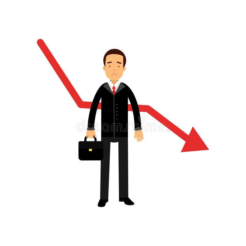 Beklemtoond zakenmankarakter die zich naast rode grafiek bevinden die dalen stock illustratie