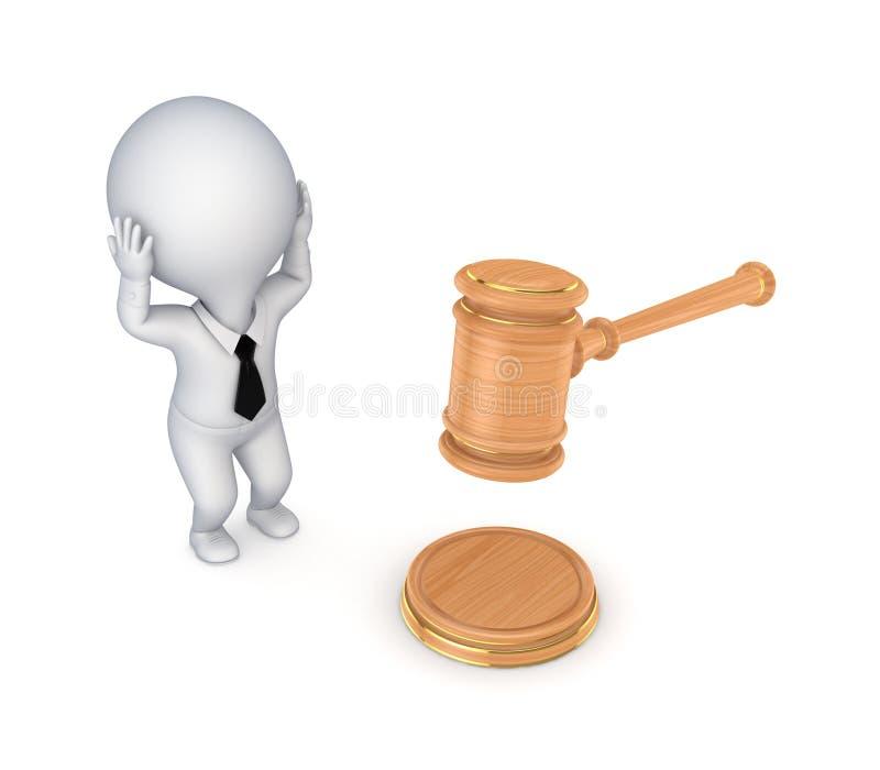 Beklemtoonde 3d kleine persoon en van de advocaat hamer. royalty-vrije illustratie