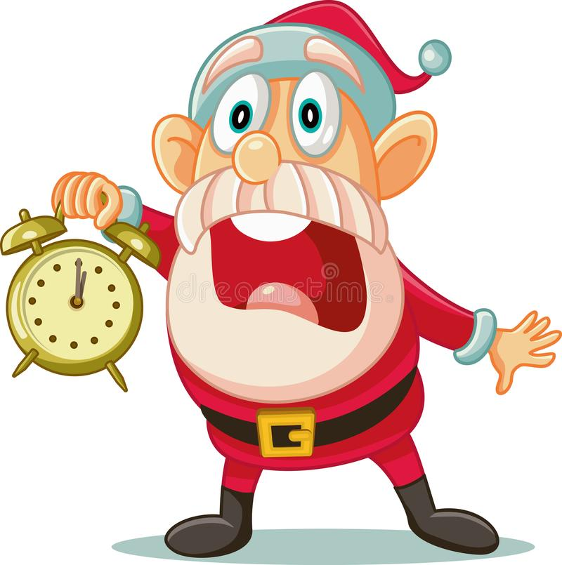 Beklemtoonde Kerstman met Klok in Grote Haast voor Kerstmis vector illustratie