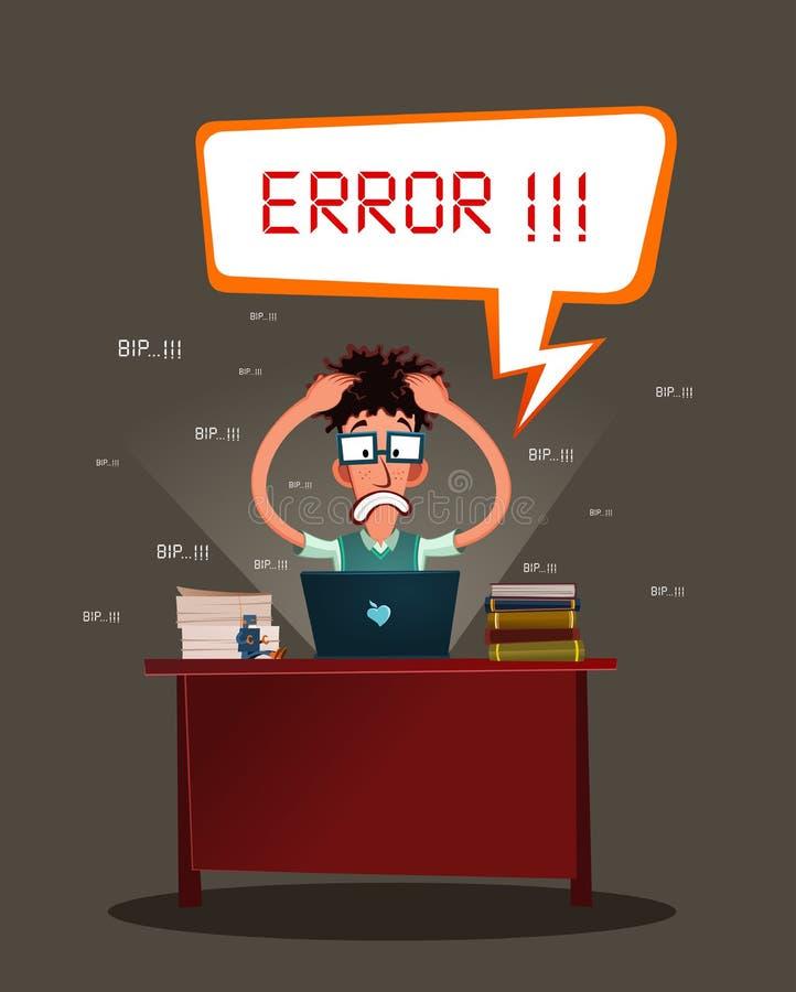 Beklemtoonde programmeur vector illustratie