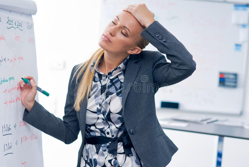 Beklemtoonde vrouw die op paneel schrijft stock afbeeldingen