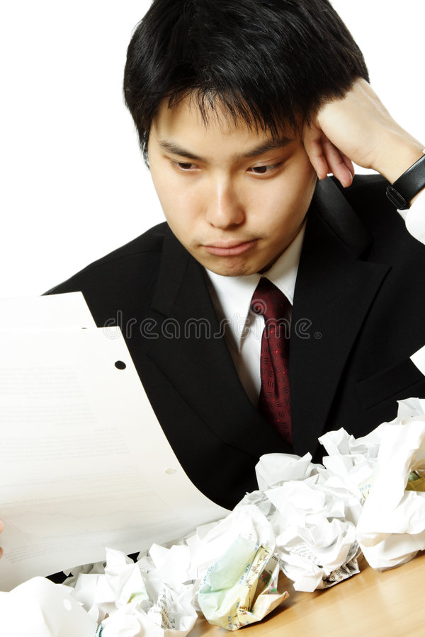 Beklemtoonde zakenman stock foto