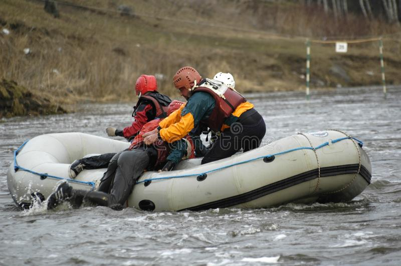 Rafting and rowing on river. Beklenischevo, Russia - April 29, 2006: Rafting as extreme and fun sport royalty free stock image