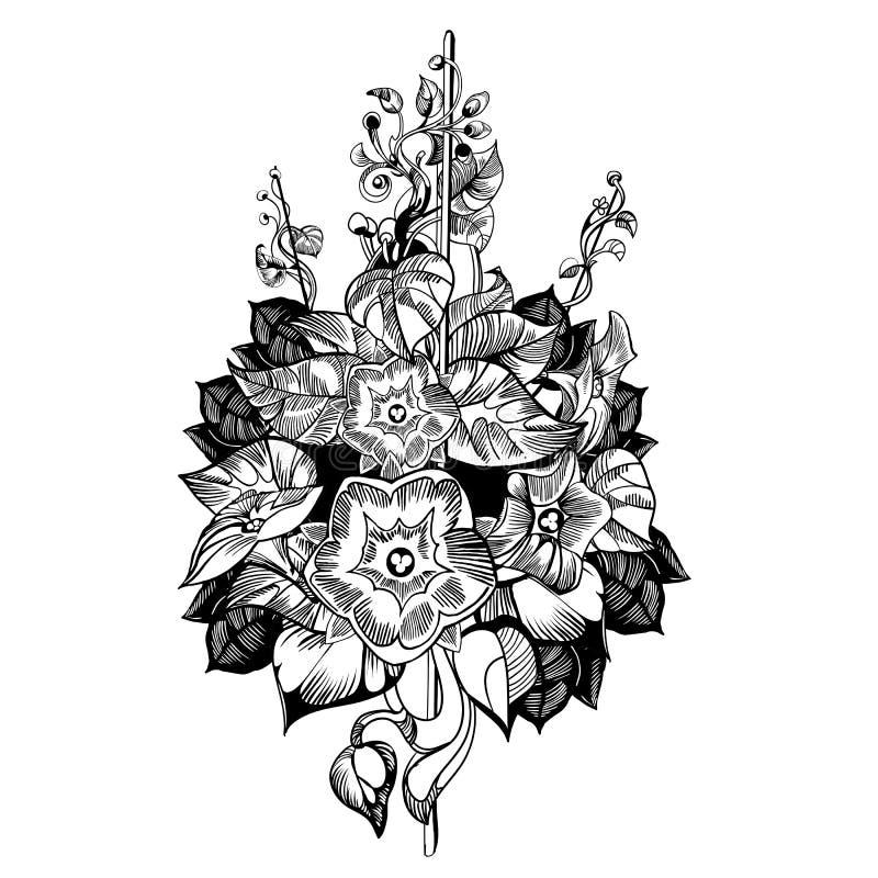 Beklim bloemvector Bloemen, zwart-wit, uitstekende vectorachtergrond royalty-vrije illustratie