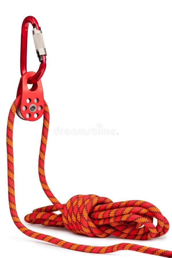 Beklimmend apparatuur - katrol, kabel, carabiner stock foto