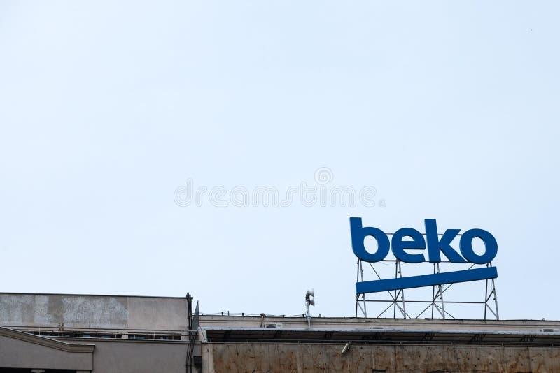 Bekoembleem op hun hoofdbureau voor Servië Beko is een Turkse binnenlands toestellen en van de consument elektronika royalty-vrije stock fotografie