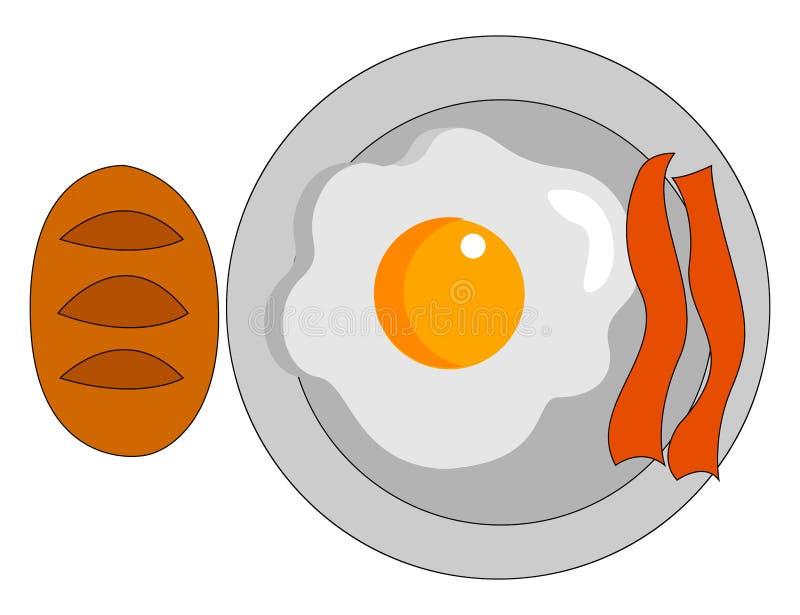 Bekon i jaja na śniadanie, ilustracja, wektor ilustracja wektor