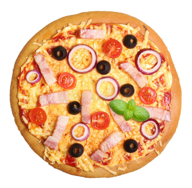 bekon odizolowana pizza obrazy stock
