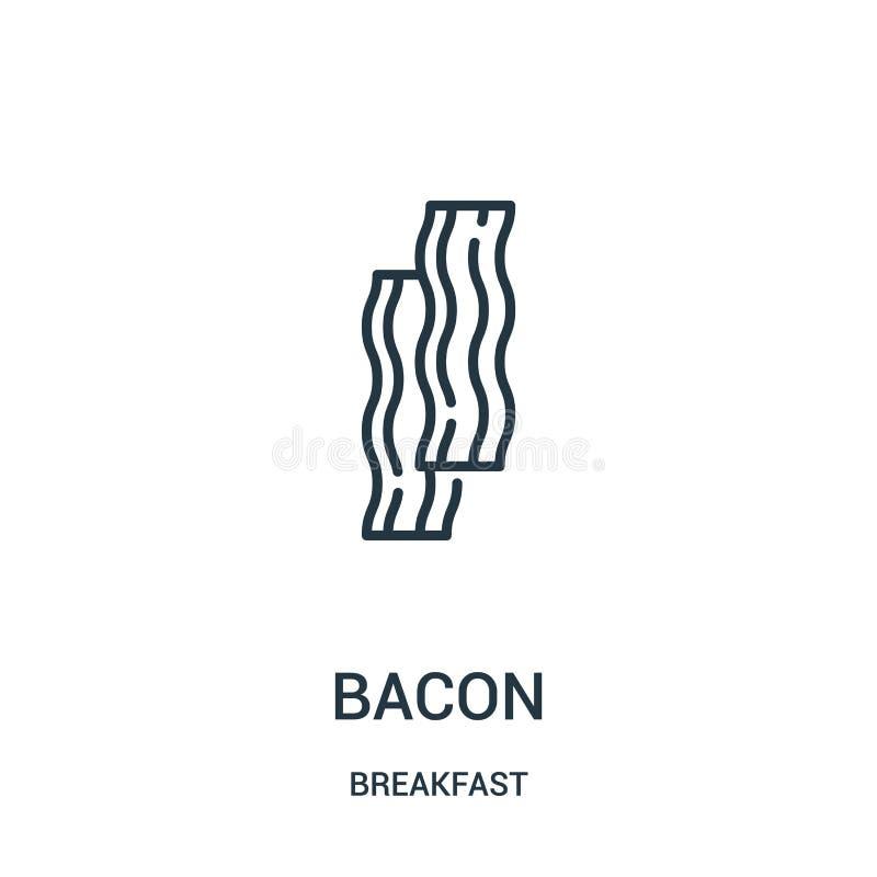 bekonowy ikona wektor od śniadaniowej kolekcji Cienka kreskowa bekonowa kontur ikony wektoru ilustracja Liniowy symbol dla używa  ilustracja wektor