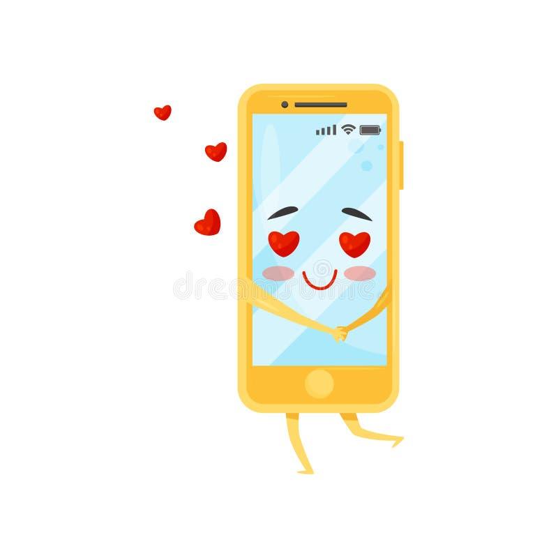 Bekoorde vermenselijkte smartphone, rode harten die in de lucht vliegen Gele mobiele telefoon Het karakter van het beeldverhaal V stock illustratie