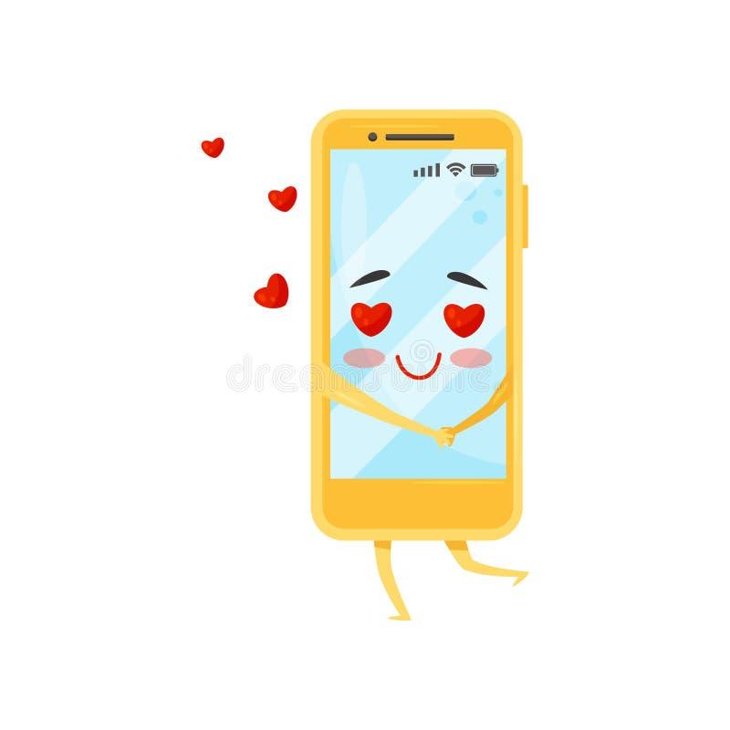 Bekoorde vermenselijkte smartphone, rode harten die in de lucht vliegen Gele mobiele telefoon Het karakter van het beeldverhaal V royalty-vrije illustratie