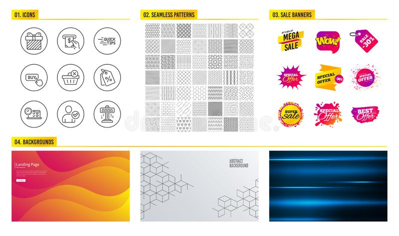 Bekräftad, köpknapp och rabattetikettsidentitet symboler Utbildning, online-prov och överraskningtecken vektor royaltyfri illustrationer