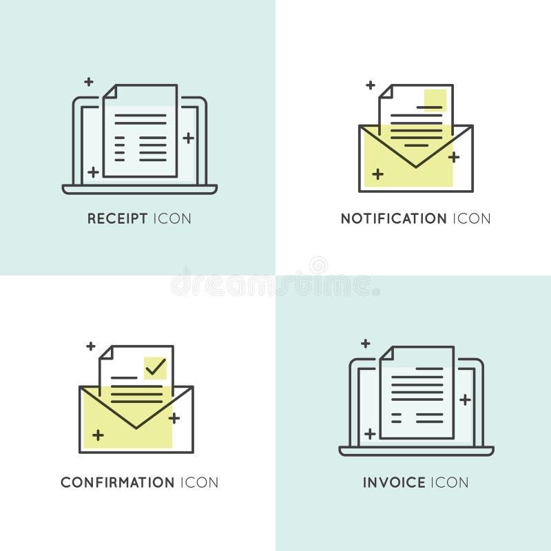 BekräftelseEmail, kvitto och faktura royaltyfri illustrationer