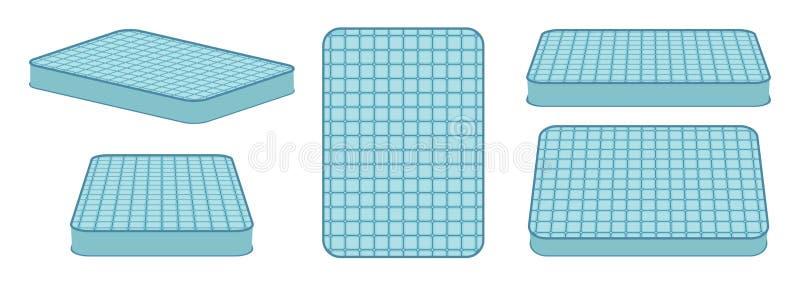 Bekväm madrass för att sova i olik position stock illustrationer