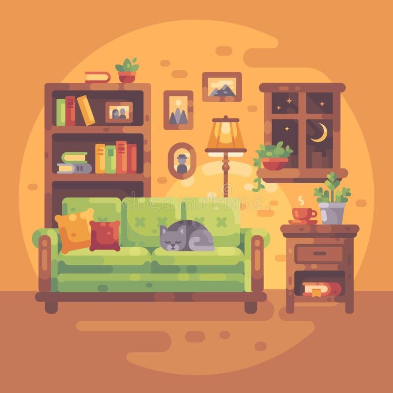 Bekväm ruminre med böcker och en katt som sover på en soffa vektor illustrationer