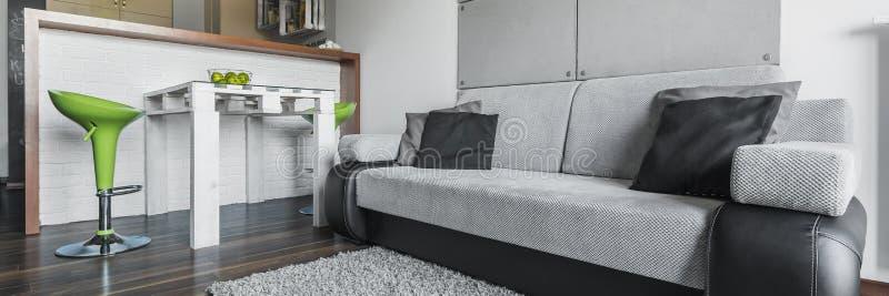 Bekväm soffa i modern lägenhet fotografering för bildbyråer
