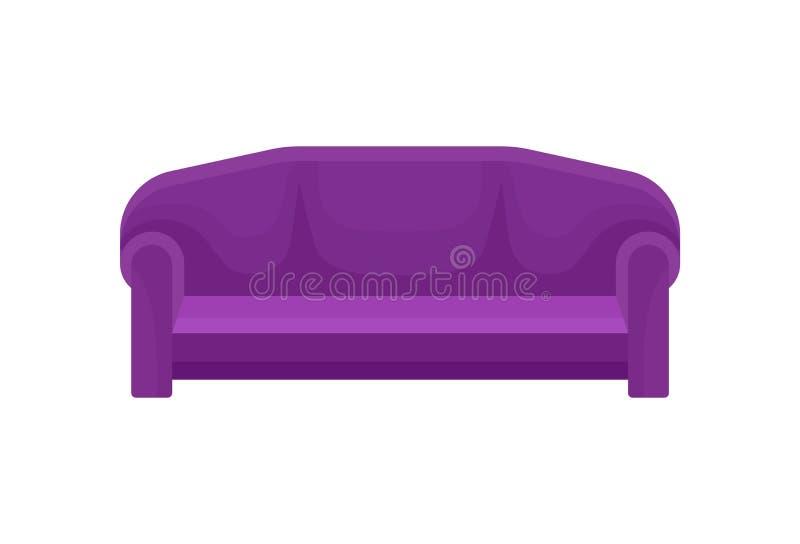 Bekväm soffa, purpurfärgad soffa, illustration för vardagsrummöblemangvektor på en vit bakgrund royaltyfri illustrationer
