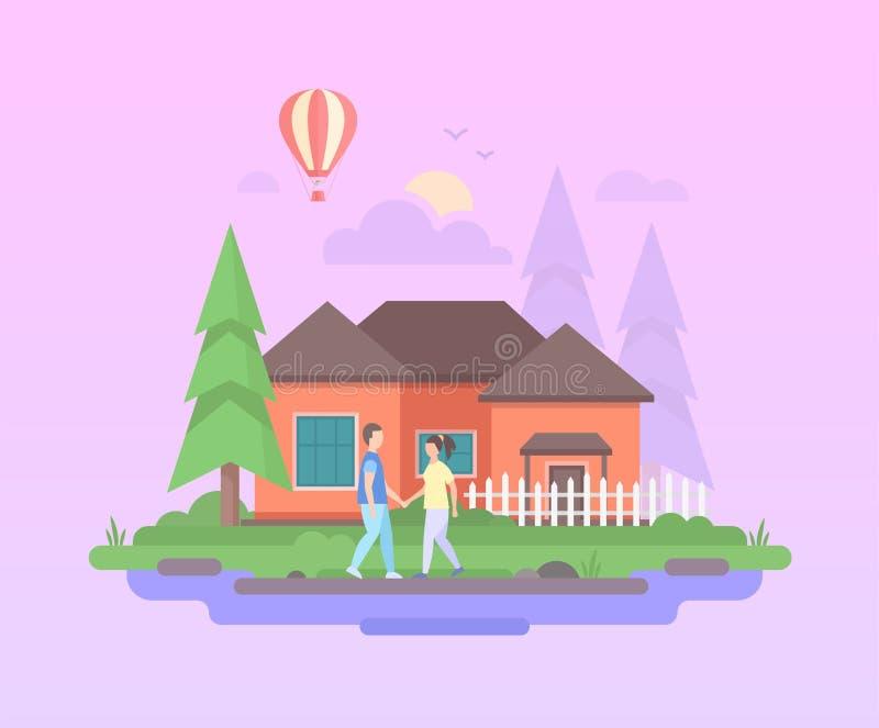 Bekvämt hus - modern plan illustration för designstilvektor vektor illustrationer