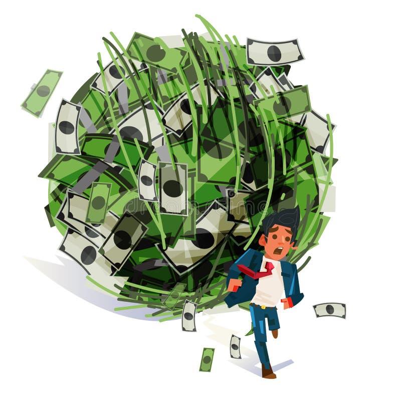 Bekymmeraffärsmankörning i väg från stor pengarboll skuld, skatt eller fena royaltyfri illustrationer
