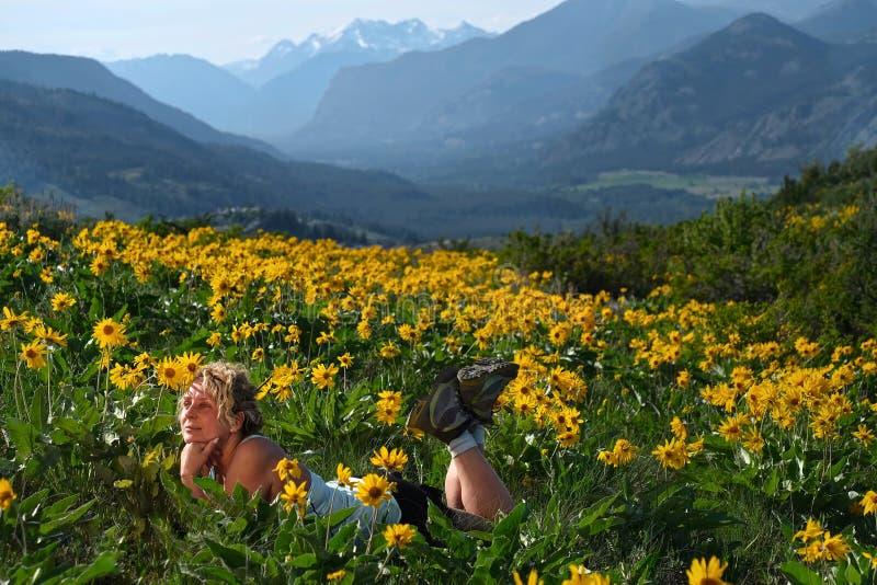Bekymmerslös kvinna som ligger bland blommor och att tycka om solen och koppla av arkivfoton