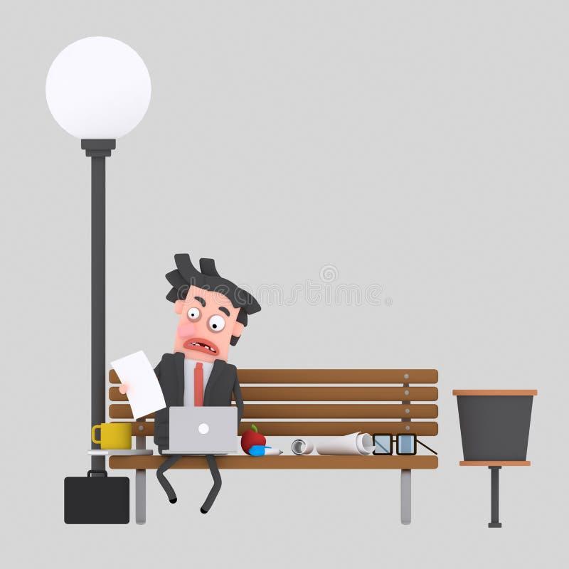 Bekymrad affärsman som har lunch på en parkerabänk 3d stock illustrationer