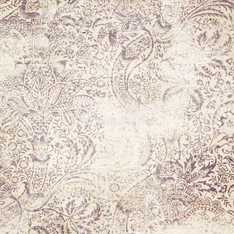Bekymrad blom- damast bakgrund royaltyfria foton