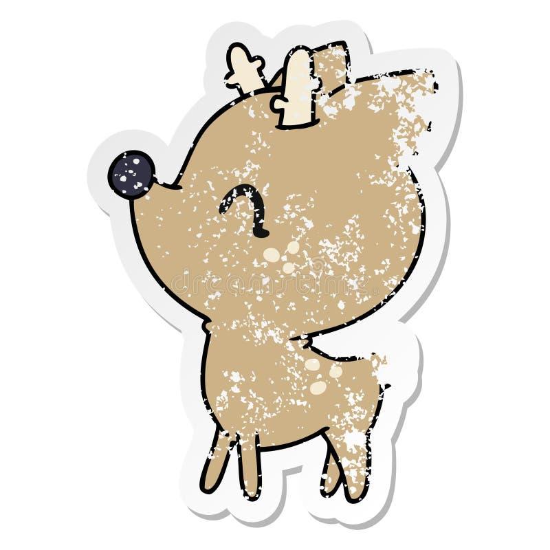 bekymrad klisterm?rketecknad film av gulliga hjortar f?r kawaii vektor illustrationer