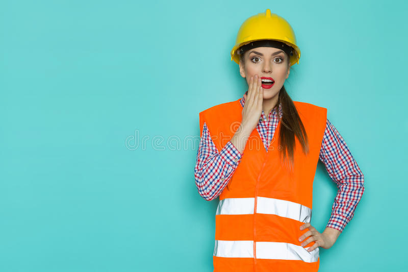 Bekymrad kvinnlig arbetare fotografering för bildbyråer