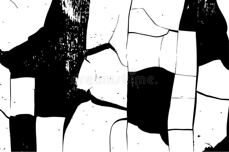 Bekymrad samkopieringstextur av sprucken betong, sten eller asfalt, knäcker i målarfärgen Svartvit grungetextur för tappning Cra vektor illustrationer