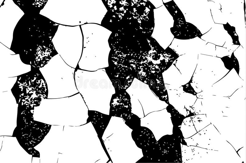 Bekymrad samkopieringstextur av sprucken betong, sten eller asfalt, knäcker i målarfärgen Svartvit grungetextur för tappning Cra stock illustrationer
