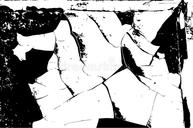 Bekymrad samkopieringstextur av sprucken betong, sten eller asfalt, knäcker i målarfärgen Svartvit grungetextur för tappning Cra royaltyfri illustrationer