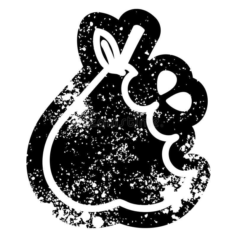 bekymrad symbol f?r saftigt p?ron stock illustrationer