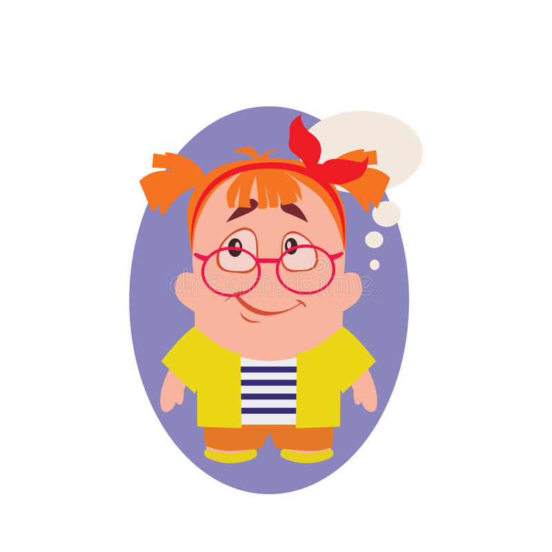 Bekymrat, le och Avatar av geeken lilla Person Cartoon Character i plan vektor stock illustrationer