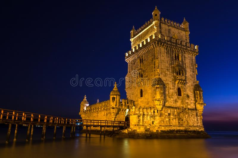 贝伦塔-托尔de贝拉母,位于圣玛丽亚的一个被加强的塔de BelA©mm,里斯本,葡萄牙 免版税图库摄影