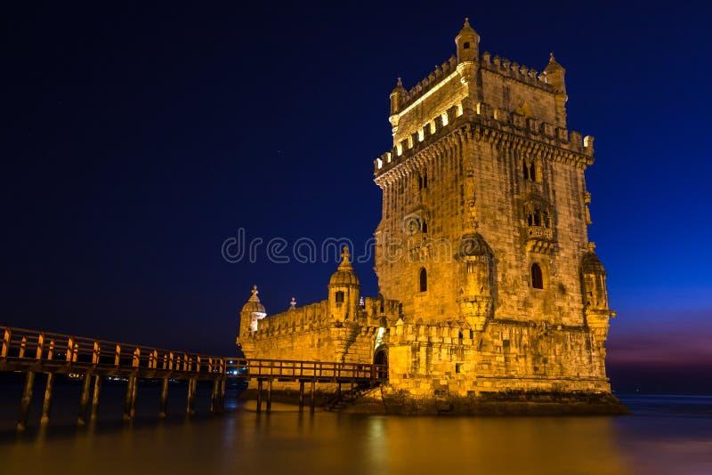Belém torn - Torre de Belém, ett stärkt torn som lokaliseras i Santa Maria de Belém, Lissabon, Portugal royaltyfri fotografi