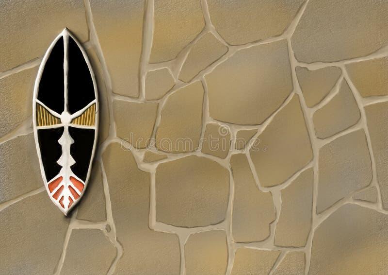 Belägen mitt emot sten och afrikansk maskering royaltyfri illustrationer