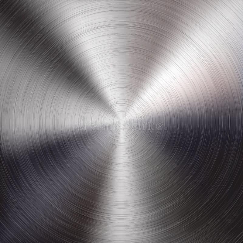 Belägga med metall bakgrund med det borstade cirkuläret texturerar royaltyfri illustrationer