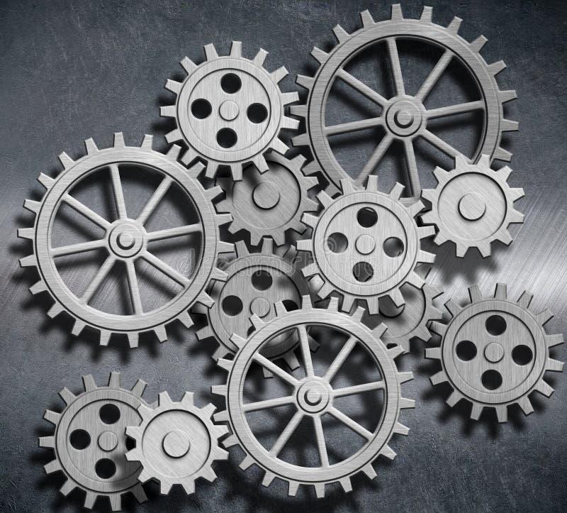Belägga med metall bakgrund med kugghjul och förser med kuggar illustrationen 3d vektor illustrationer