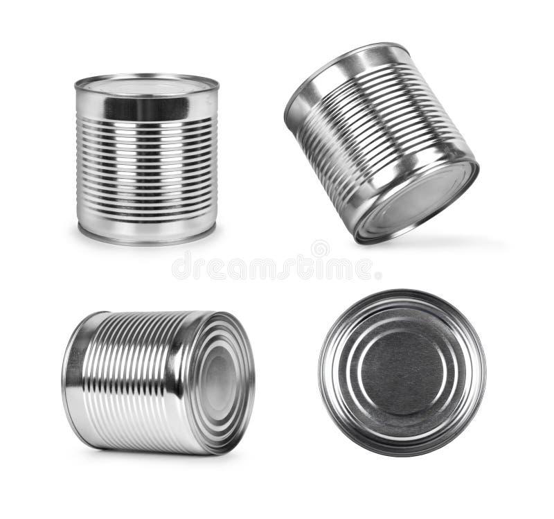 Belägga med metall cans i olika vinklar som isoleras på vit arkivbild
