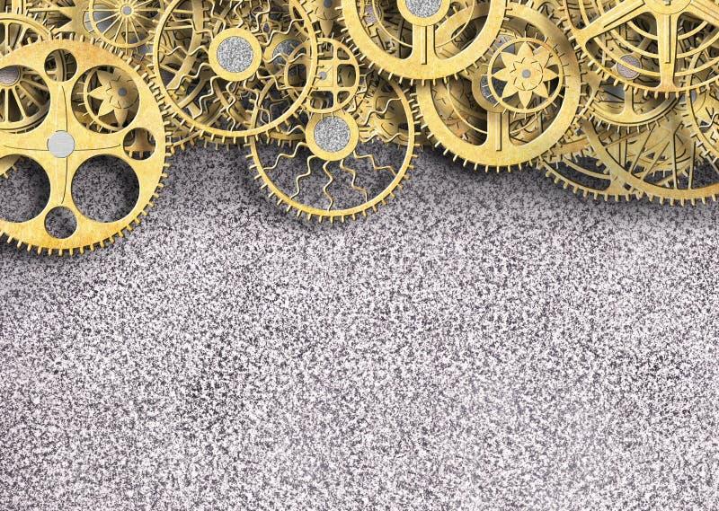 Belägga med metall guld- färg för kugghjulet, industriell bakgrund för designen, 3d vektor illustrationer
