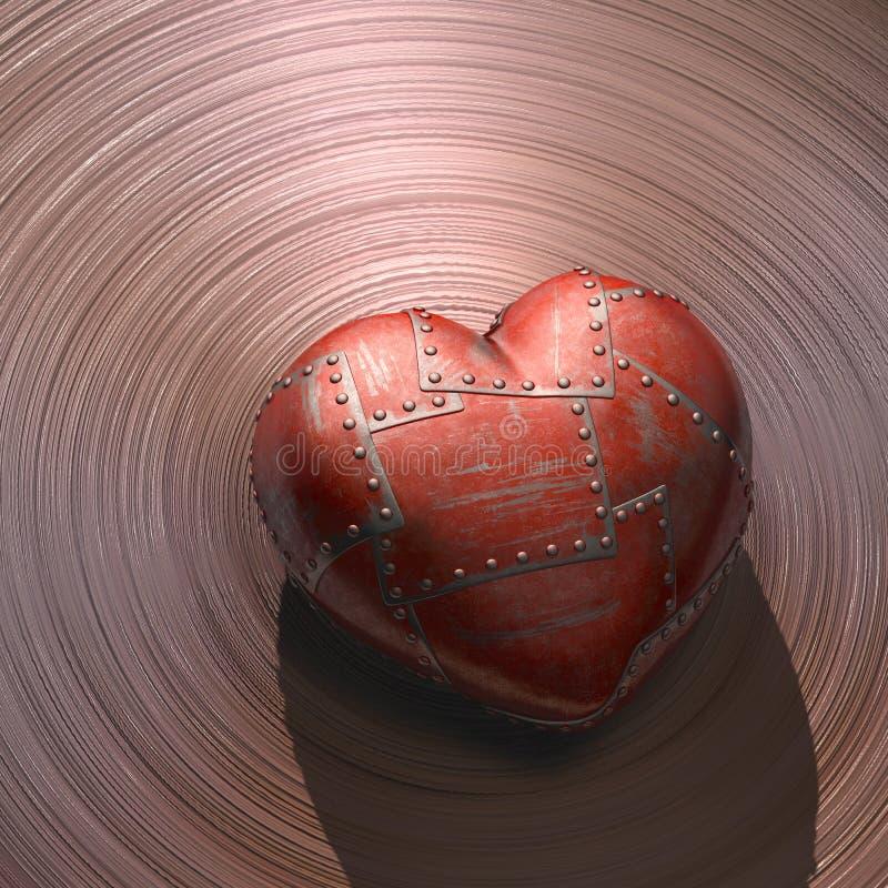 Belägga med metall hjärta arkivbild