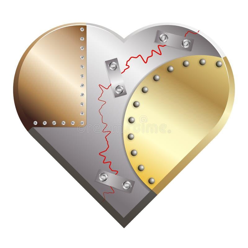 Belägga med metall hjärta knäckt församlat från koppar, silver och guld stock illustrationer
